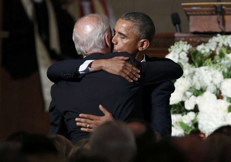 Image: U.S. President Obama kisses Vice President Biden on the cheek after delivering the eulogy during the funeral of Biden's son former Delaware Attorney General Beau Biden in Wilimington, Delaware