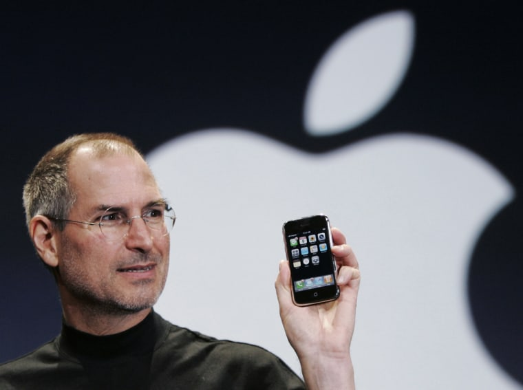 Image: Apple CEO Steve Jobs holds up an Apple iPhone at the MacWorld Conference in San Francisco, Calif., in this Jan. 9, 2007 file photo.
