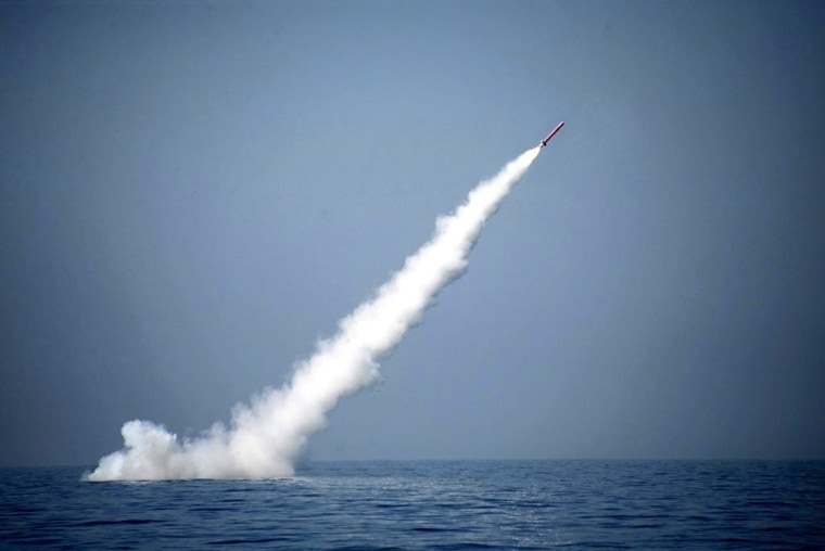 Image: Pakistan test fire cruise missile from a submarine in the Indian Ocean