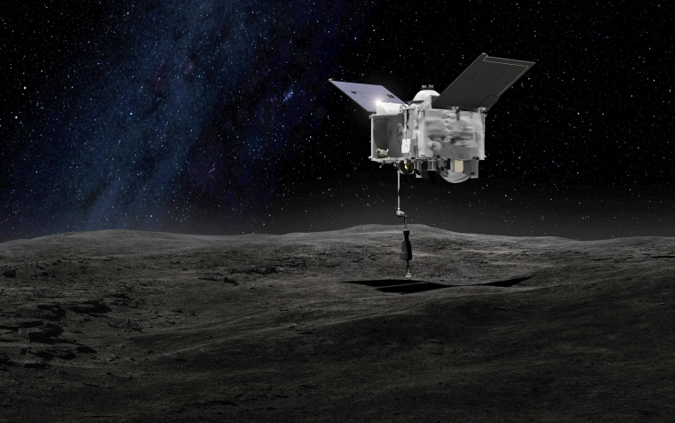 This artist's rendering shows the OSIRIS-REx spacecraft collecting a sample from the asteroid Bennu using a mechanical arm to touch the asteroid's surface.