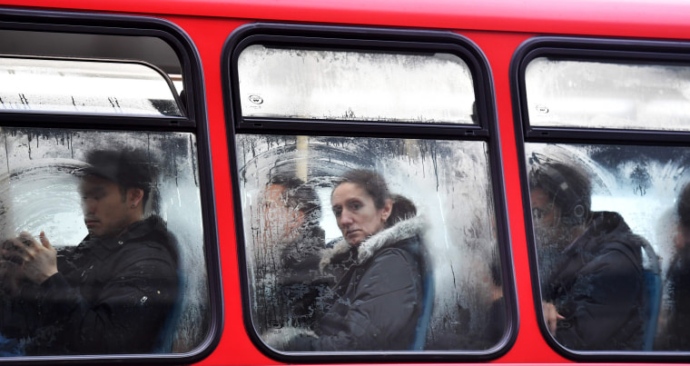 Image: Commuters are seen on a bus on London Bridge on Jan. 9 during a 24-hour tube strike.