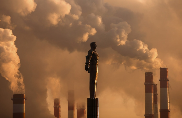 Image: Steam rises from chimneys of a heating power plant near a monument of Soviet cosmonaut Yuri Gagari with the air temperature at about minus 17 degrees Celsius (1.4 degrees Fahrenheit), during sunset in Moscow, Russia on Jan. 9.