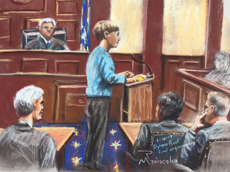 Dylann Roof speaks in the courtroom in Charleston on Jan. 10.