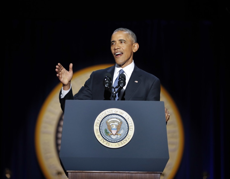 Image: President Barack Obama speaks during his farewell address at McCormick Place in Chicago on Jan. 10.