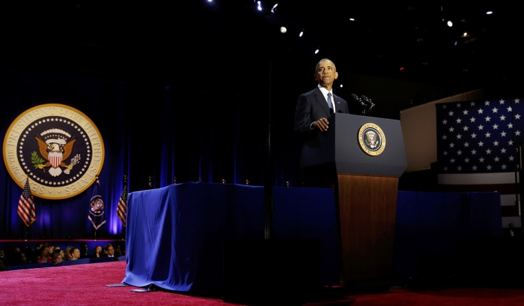 Image: Obama delivers his farewell address in Chicago