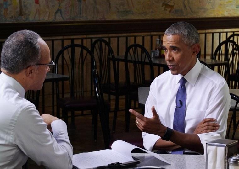 Image: Lester Holt interviews President Barack Obama at Valois restaurant in Chicago's Hyde Park