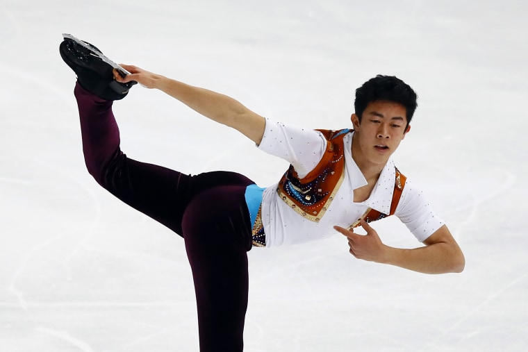 Nathan Chen of US competes in the Men Short Program during the ISU figure skating France's Trophy at Bercy arena, in Paris, France, Friday, Nov. 11, 2016.