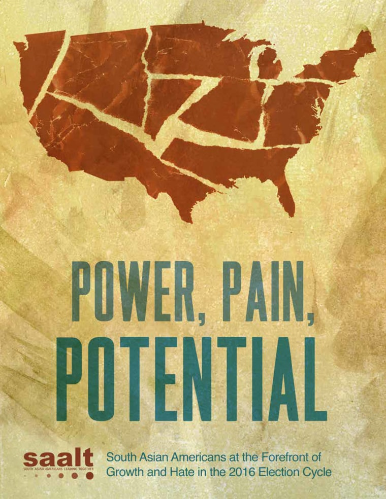 "The cover of ""Power, Pain, Potential,"" a report by SAALT on incidents of anti-South Asian American hate"