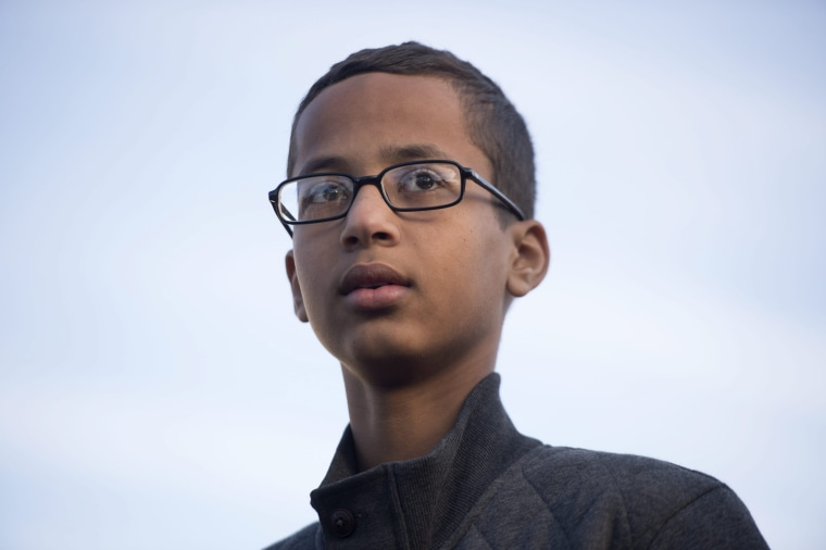 Image: Ahmed Mohamed, a 14-year-old student from Irving, Texas, who was arrested after he brought a homemade clock to his high school to show his teachers and was later accused of having a bomb. He is seen here on Oct. 20, 2015 in Washington, D.C.
