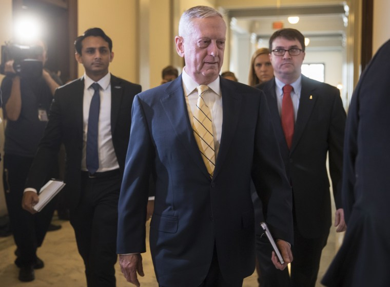Image: Defense Secretary-designate, retired Marine Corps Gen. James Mattis, arrives for a meeting with Senate Armed Services Committee member Sen. Kirsten Gillibrand on Jan. 4, 2017, on Capitol Hill in Washington, D.C.