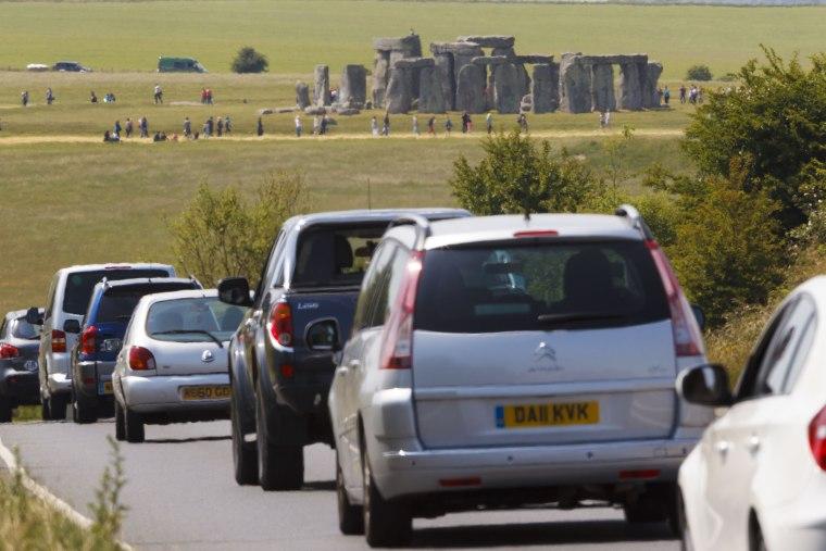 Image: Cars driving along the A303 at Stonehenge