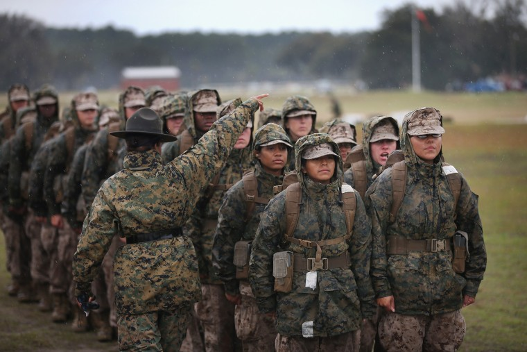 Image: Marine recruits prepare to fire on the rifle range during boot camp on Feb. 25 at Camp LeJeune.