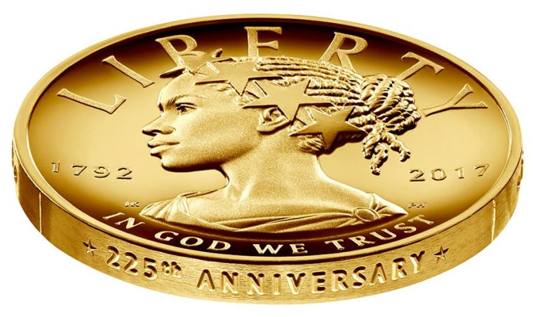 The new $100 coin featuring an African American Lady Liberty.