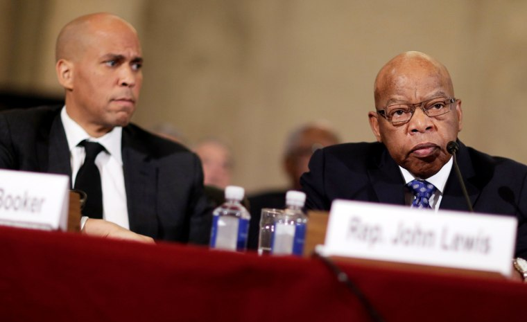 Image: Rep. John Lewis testifies to the Senate Judiciary Committee as Senator Cory Booker listens during the second day of confirmation hearings on Senator Jeff Sessions' nomination to be U.S. attorney general in Washington, D.C. on Jan. 11.