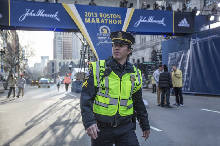 """Mark Wahlberg plays a Boston Police Officer on duty during the bombing of the Boston Marathon in """"Patriots Day."""""""