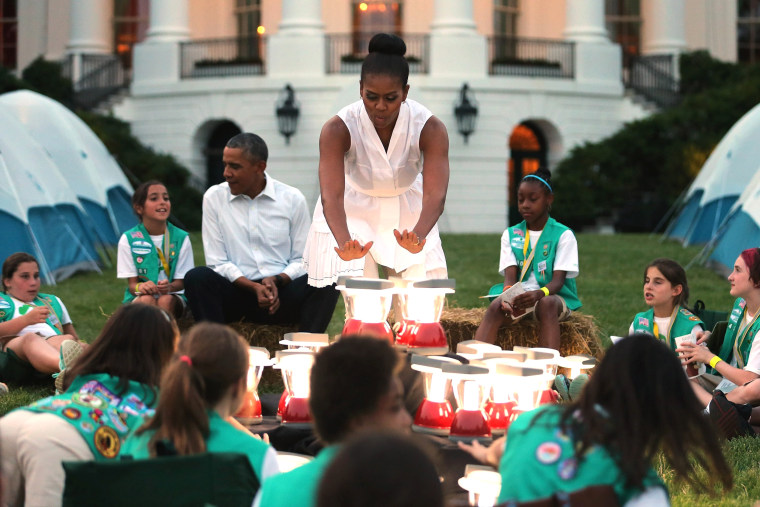 Image: US President Obama and First Lady host Girls Scouts at White House Campout
