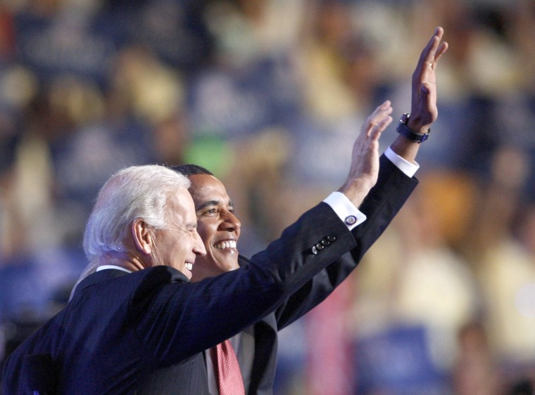Image: Democratic presidential nominee U.S. Sen. Barack Obama and his vice presidential nominee U.S. Sen. Joe Biden wave to the crowd after Biden addressed the 2008 Democratic National Convention in Denver, Colorado, Aug. 27, 2008.