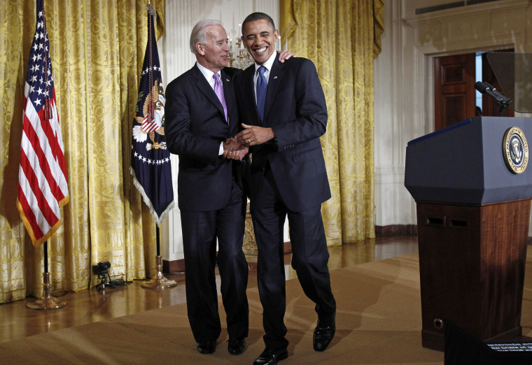 Image: U.S. President Barack Obama walks off stage with Vice President Joe Biden at an event marking Domestic Violence Awareness Month in the East Room of the White House in Washington, Oct. 27, 2010.