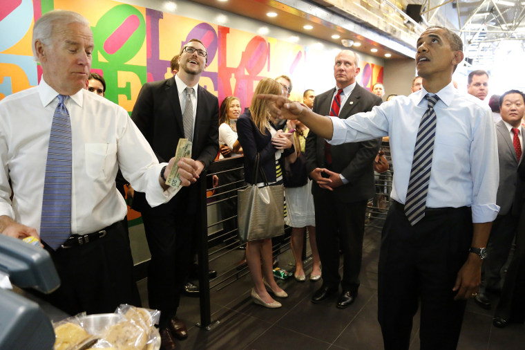 Obama turns down Biden's offer to buy lunch at a sandwich shop near the White House in Washington