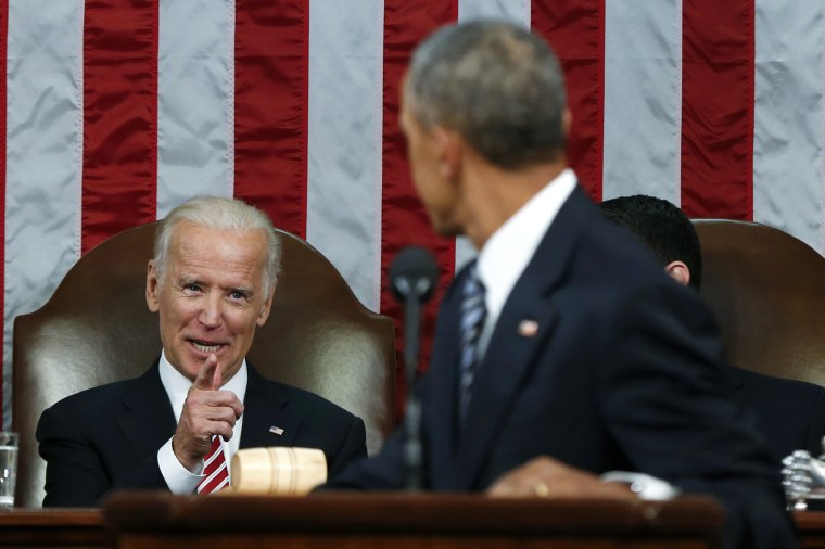 Image: Biden points to President Obama while Obama delivered his final State of the Union address to a joint session of Congress in Washington, Jan.12, 2016.