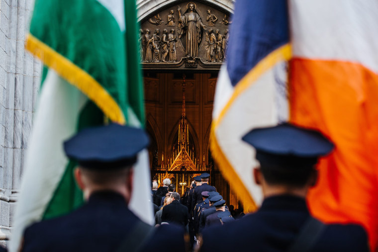 Image: NYPD officers attend the funeral ceremony of Detective Steven McDonald at St.Patrick's Cathedral in New York, New York on Jan. 13.