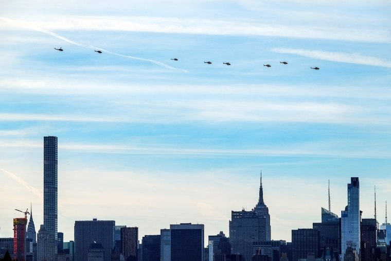 Image: NYPD helicopters fly over Midtown to honor Detective Steven McDonald on Jan. 13 in New York City.