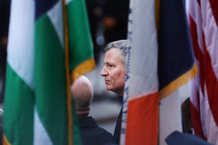 Image: New York City Mayor Bill de Blasio attends the funeral for Detective Steven McDonald at St. Patrick's Cathedral on Jan. 13 in New York City.