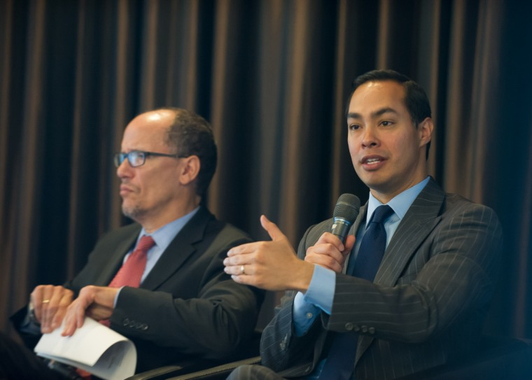Housing Secretary Juli?n Castro speaks at an event with Labor Secretary Tom Perez in a June 2015 event on homeless veterans.