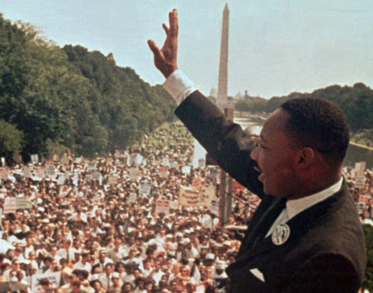 Image: The Rev. Martin Luther King Jr. acknowledges the crowd at the Lincoln Memorial