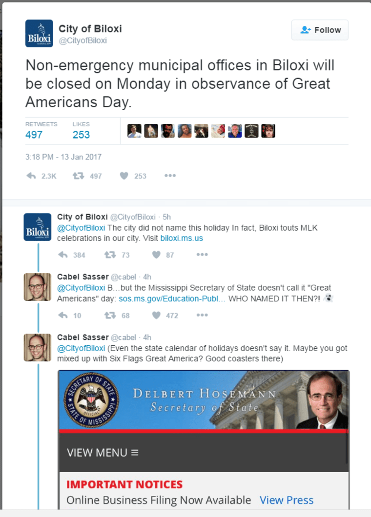 "City of Biloxi's tweet that declared Monday ""Great Americans Day"" instead of Martin Luther King Jr. Day"