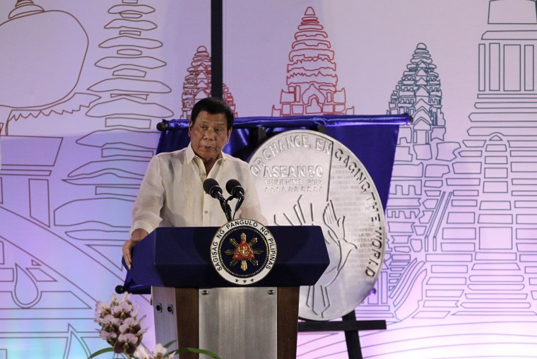 Image: Philippine President Rodrigo Duterte speaks during the Philippines' ASEAN Chairmanship launch at SMX Convention Center in Davao city