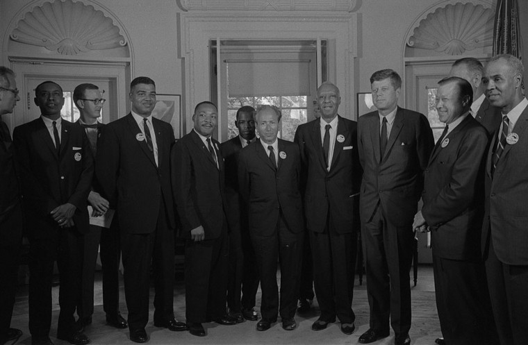Image: Civil rights leaders meeting with President John F. Kennedy in the Oval Office of the White House following the civil rights march on Washington D.C., Aug. 28, 1963.