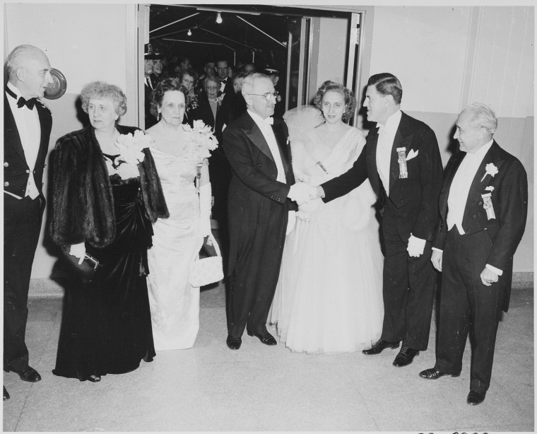 First lady Bess Truman, far left, celebrates President Truman's inauguration with her daughter and the ball's co-chairs.