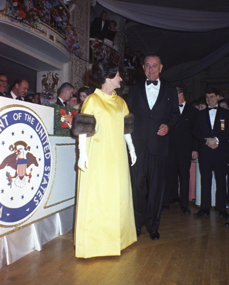 Lady Bird Johnson and President Lyndon B. Johnson at the Presidential Inaugural Ball.