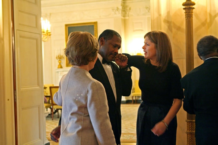 Jenna Bush Hager shares a tearful farewell to a White House staff member.