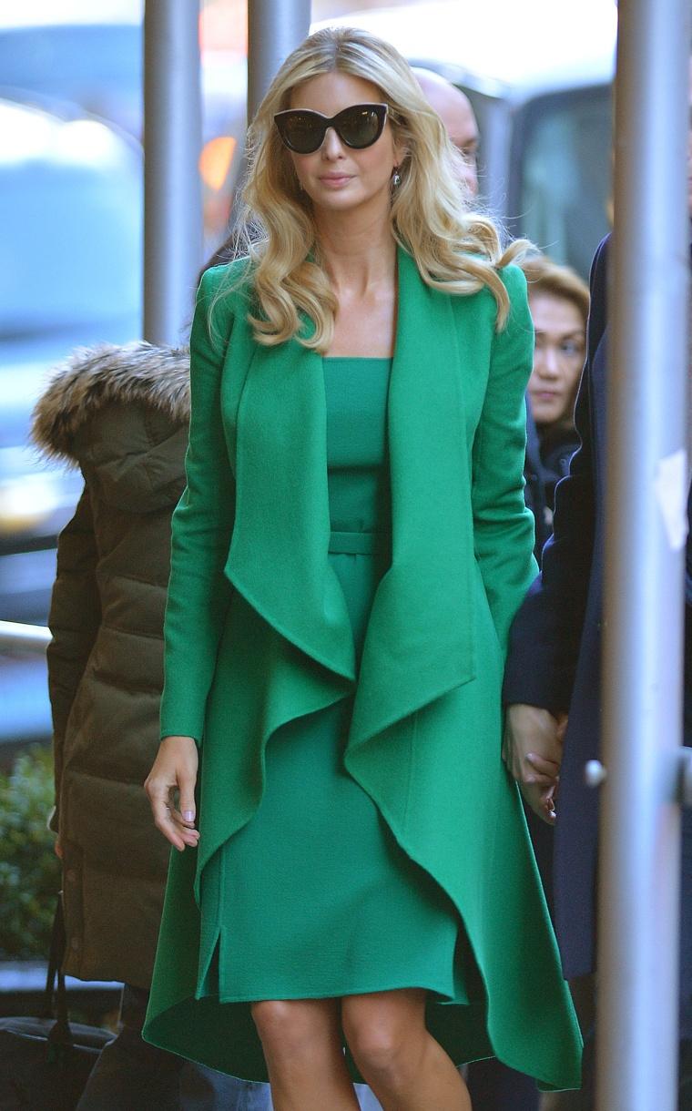 Ivanka Trump green Oscar de la Renta dress