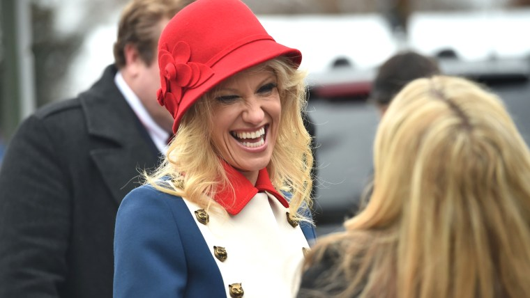 """Kellyanne Conway's unique """"Trump Revolutionary Wear"""" turned heads at Donald Trump's inauguration."""