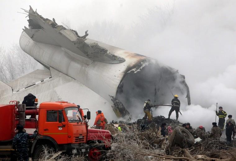 Image: Cargo plane crashes in Kyrgyzstan