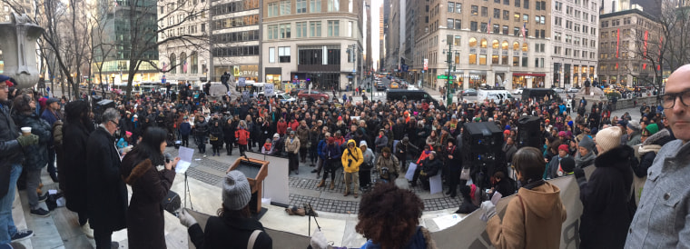 A view of the Jan. 15 Writers Resist reading hosted on the steps of the New York Public Library.