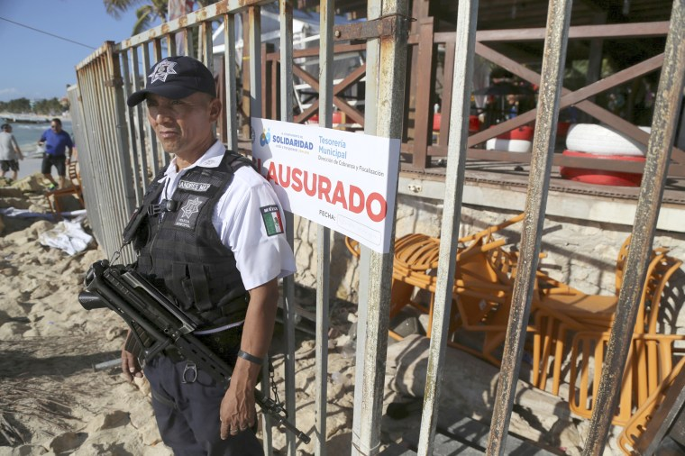 Image: Police guard the exit of the Blue Parrot nightclub in Playa del Carmen, Mexico, Monday, Jan. 16, 2017.