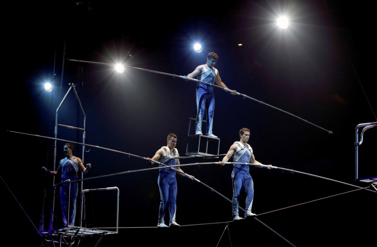 Image: A high wire act performs during a show on Jan. 14, 2017, in Orlando, Florida.
