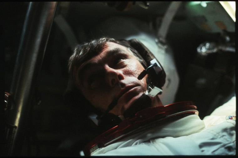 Image: Astronaut Gene Cernan is pictured in the Command Module during the outbound trip from the moon during the Apollo 17 mission in Dec. 1972.