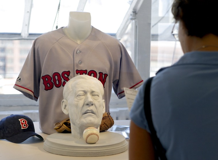 Daniel Edward's sculpture of Boston Red Sox great Ted William head is exhibited at the First Street Gallery in New York in 2005. Edwards said the inspiration for the sculpture came to him when it was revealed that the Hall of Famer's head was removed and cryogenically frozen following his death in July 2002.
