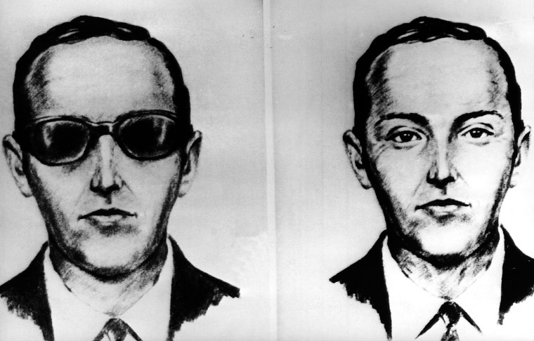 Image: An artist made these sketches of the skyjkacker known as Dan Cooper from the recollections of the passengers and crew of an Northwest Airlines jet he hijacked between Portland and Seattle on Thanksgiving eve in 1971.