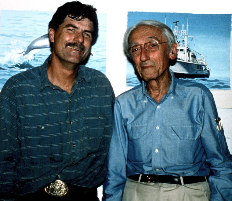 Stephen Arrington and Jacques Cousteau is seen in this undated photo provided by Arrington.