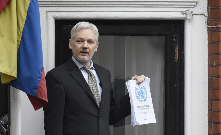 Image: Julian Assange speaks from a balcony of the Ecuadorian Embassy in February 2016.