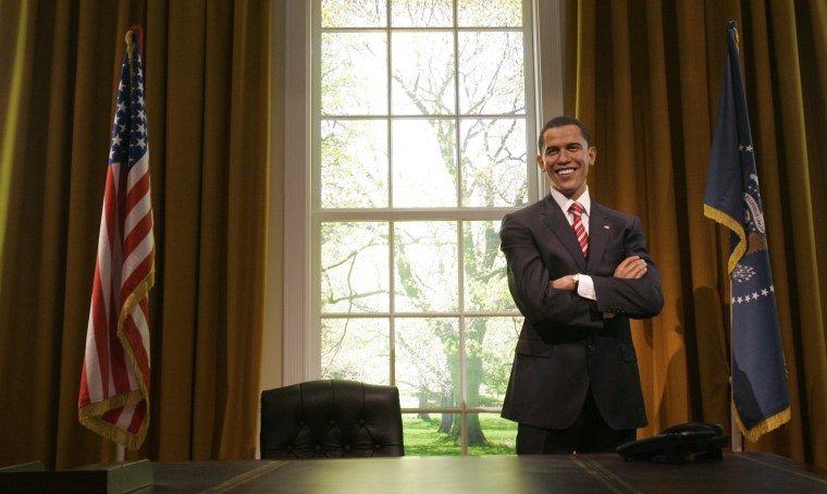 A wax figure of then President-elect Barack Obama is unveiled in an Oval Office setting at Madame Tussauds in London on Jan. 15, 2009.