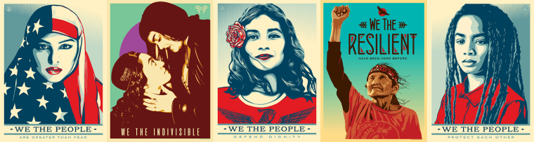 """A series of posters titled """"We the People"""" commissioned by The Amplifier Foundation. The foundation plans to spread the images throughout Washington D.C. during Inauguration Day."""
