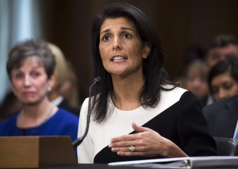 Image: South Carolina Governor Nikki Haley testifies during her confirmation hearing for US Ambassador to the United Nations (UN) before the Senate Foreign Relations committee on Capitol Hill in Washington, D.C., on Jan.18, 2017.
