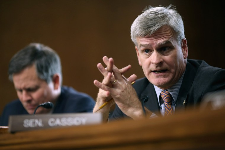 Image: Senate Energy and Natural Resources Committee member Sen. Bill Cassidy (R-LA) speaks during a hearing on Capitol Hill on Oct. 6, 2015 in Washington, D.C.